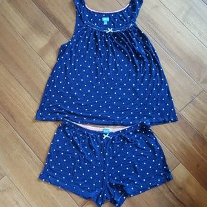 2-pc Vera Wang pajama set, navy with white dots